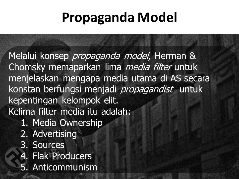"chomskys essay filtering herman model news propaganda What is noam chomsky's propaganda model update sourcing mass media news: herman and chomsky argue that ""the this was included as a filter in the."