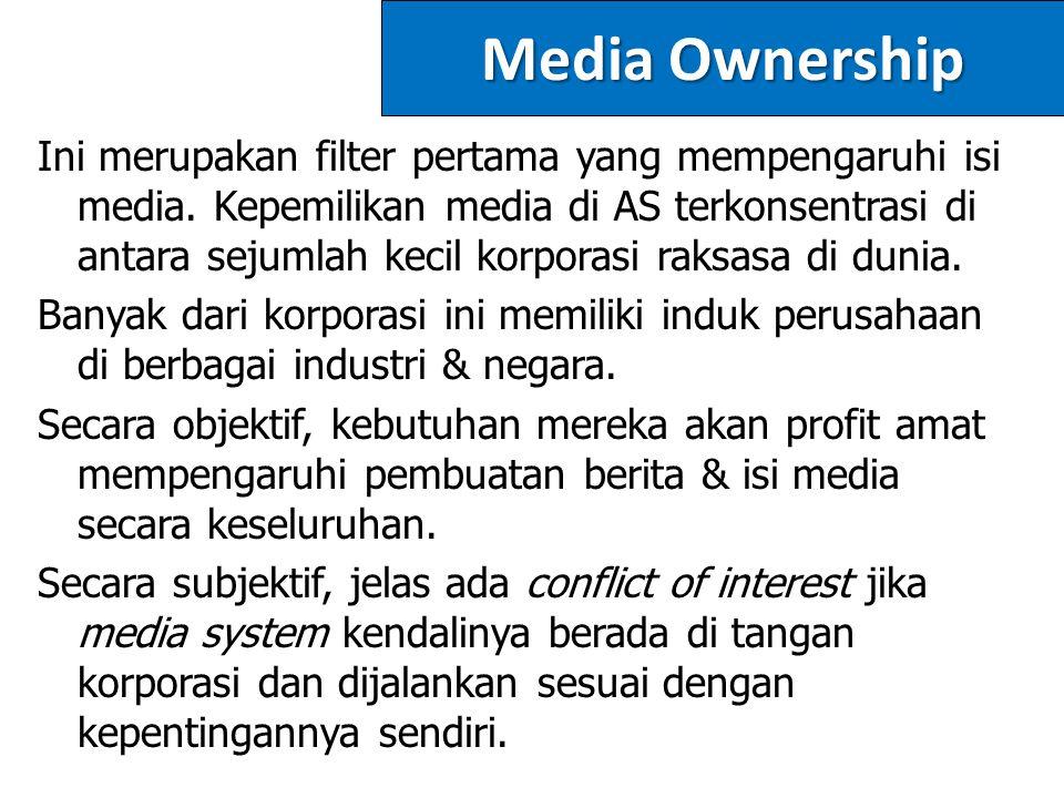 Media Ownership Ini merupakan filter pertama yang mempengaruhi isi media.