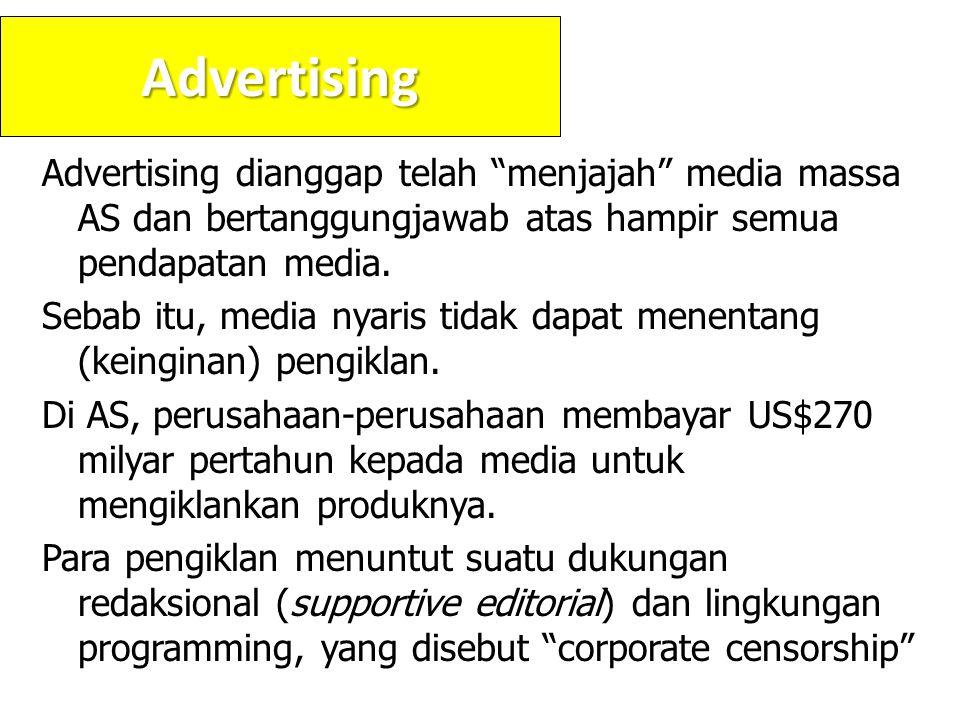 Advertising Advertising dianggap telah menjajah media massa AS dan bertanggungjawab atas hampir semua pendapatan media.