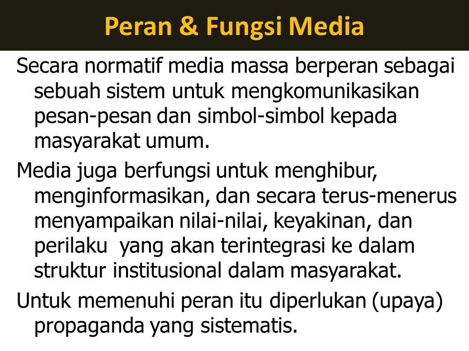 Peran & Fungsi Media Secara normatif media massa berperan sebagai sebuah sistem untuk mengkomunikasikan pesan-pesan dan simbol-simbol kepada masyarakat umum.
