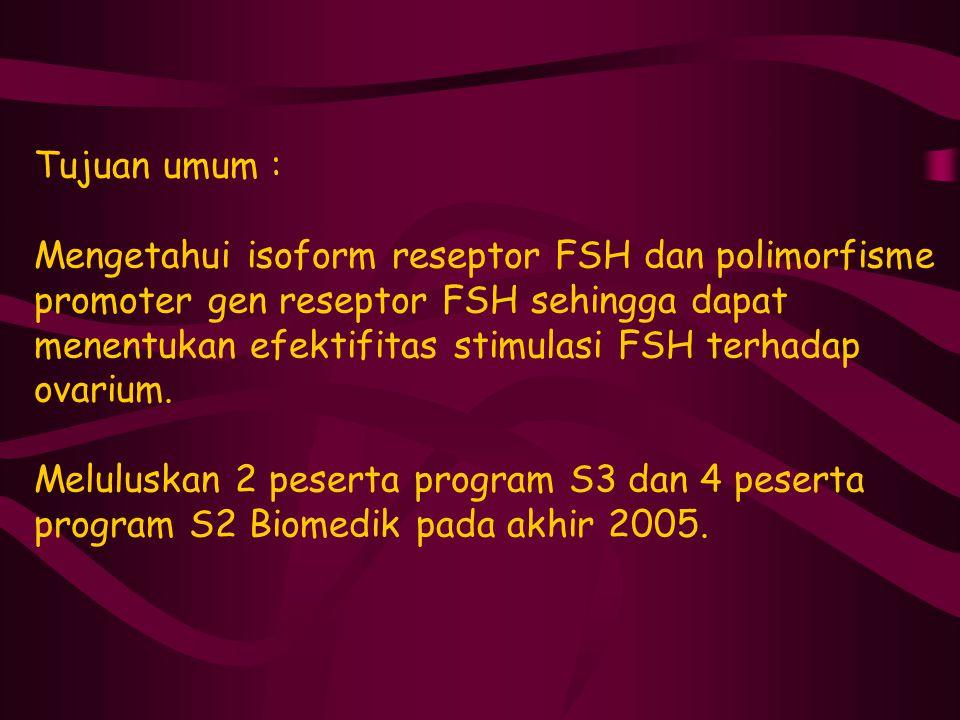 Tujuan umum : Mengetahui isoform reseptor FSH dan polimorfisme promoter gen reseptor FSH sehingga dapat menentukan efektifitas stimulasi FSH terhadap