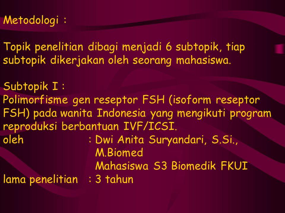 Metodologi : Topik penelitian dibagi menjadi 6 subtopik, tiap subtopik dikerjakan oleh seorang mahasiswa. Subtopik I : Polimorfisme gen reseptor FSH (