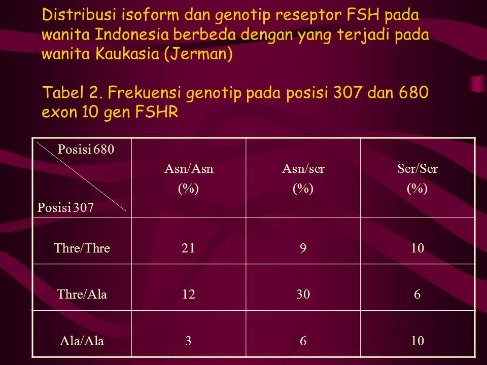 Distribusi isoform dan genotip reseptor FSH pada wanita Indonesia berbeda dengan yang terjadi pada wanita Kaukasia (Jerman) Tabel 2. Frekuensi genotip