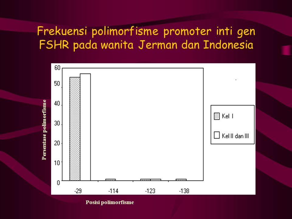 Frekuensi polimorfisme promoter inti gen FSHR pada wanita Jerman dan Indonesia Persentase polimorfisme Posisi polimorfisme