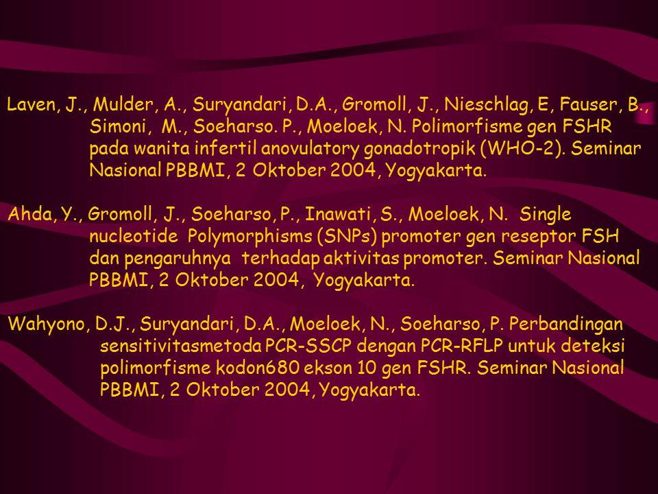 Laven, J., Mulder, A., Suryandari, D.A., Gromoll, J., Nieschlag, E, Fauser, B., Simoni, M., Soeharso. P., Moeloek, N. Polimorfisme gen FSHR pada wanit