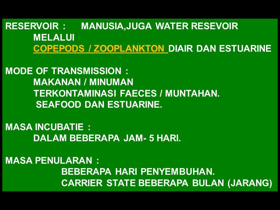 RESERVOIR : MANUSIA,JUGA WATER RESEVOIR MELALUI COPEPODS / ZOOPLANKTON DIAIR DAN ESTUARINE MODE OF TRANSMISSION : MAKANAN / MINUMAN TERKONTAMINASI FAECES / MUNTAHAN.