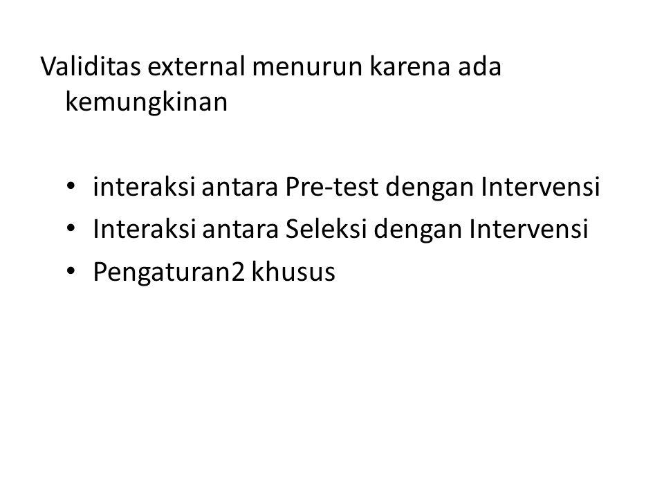 Validitas external menurun karena ada kemungkinan interaksi antara Pre-test dengan Intervensi Interaksi antara Seleksi dengan Intervensi Pengaturan2 khusus