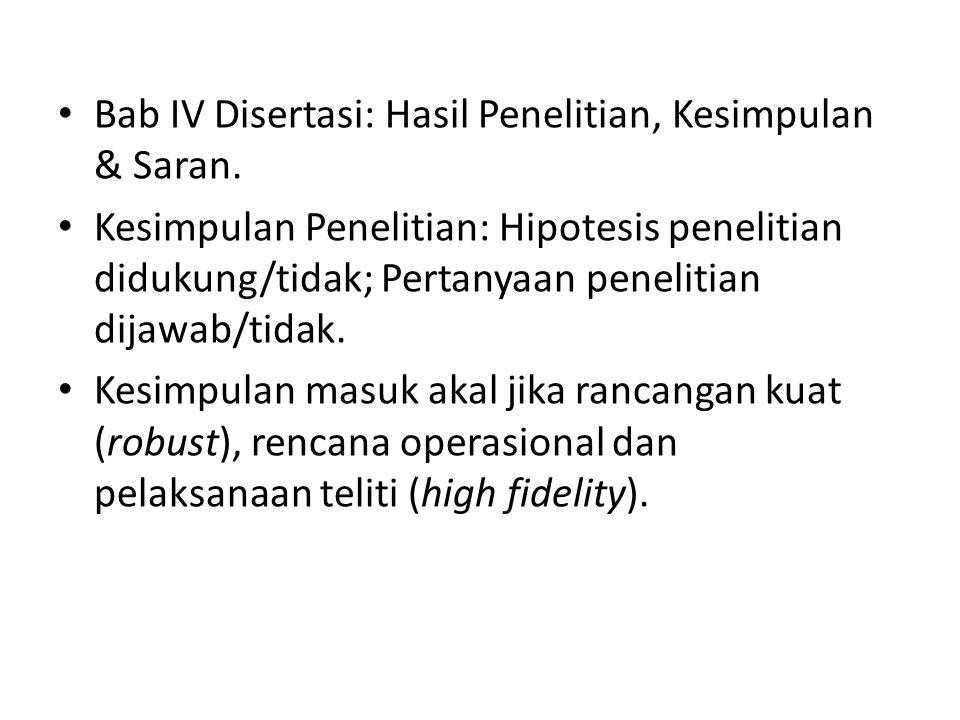 Bab IV Disertasi: Hasil Penelitian, Kesimpulan & Saran.