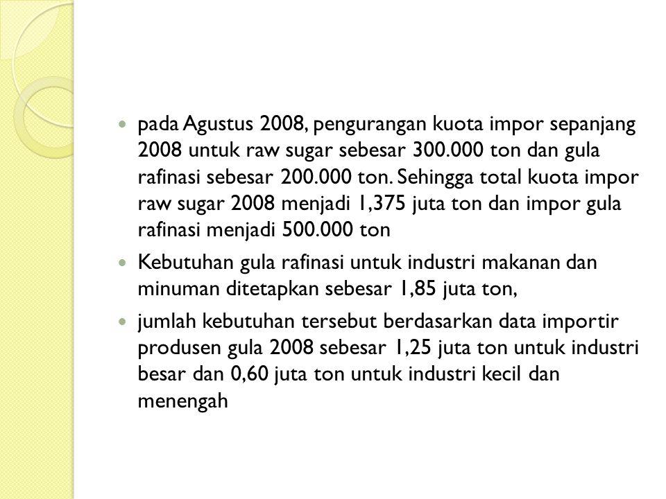 pada Agustus 2008, pengurangan kuota impor sepanjang 2008 untuk raw sugar sebesar 300.000 ton dan gula rafinasi sebesar 200.000 ton. Sehingga total ku