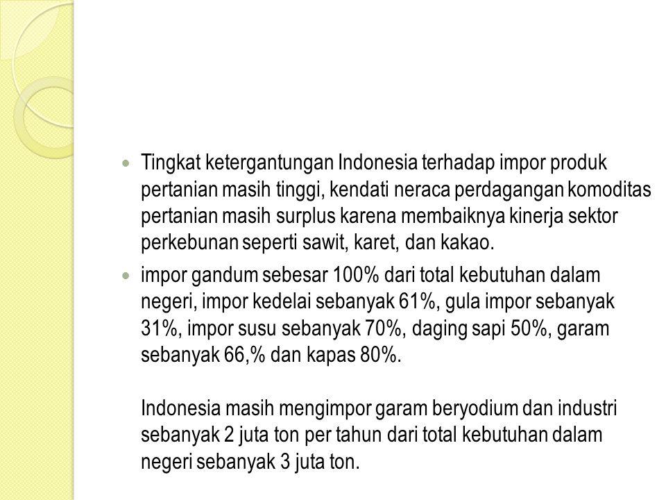 Tingkat ketergantungan Indonesia terhadap impor produk pertanian masih tinggi, kendati neraca perdagangan komoditas pertanian masih surplus karena mem