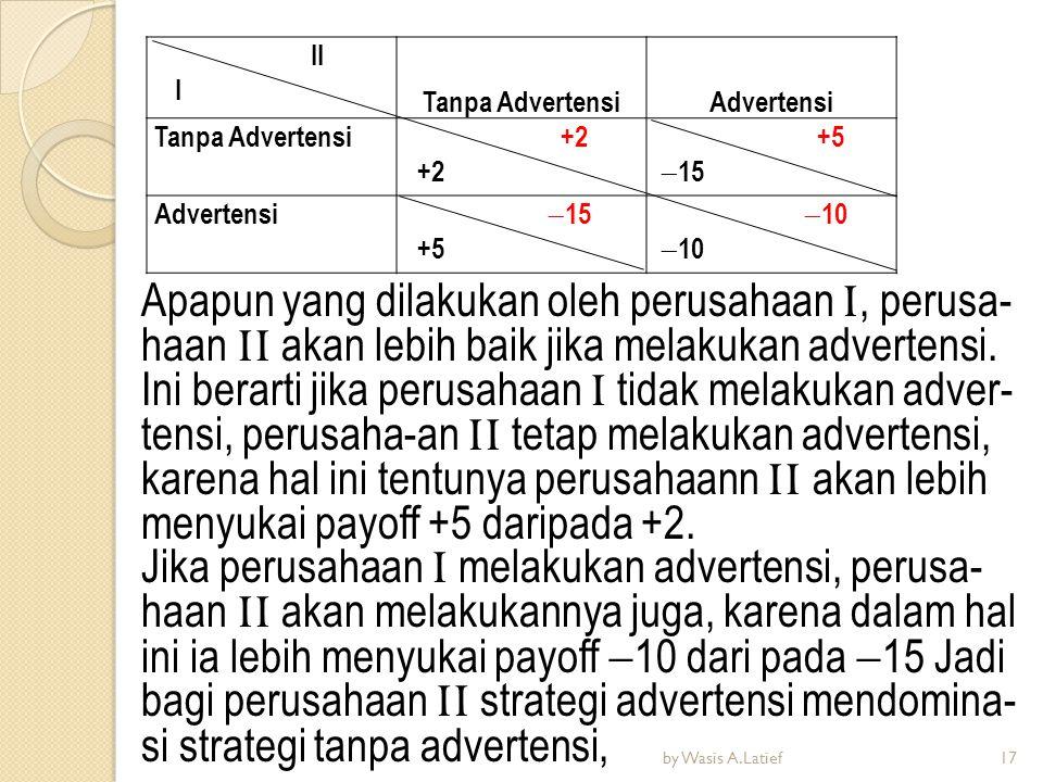 Apapun yang dilakukan oleh perusahaan I, perusa- haan II akan lebih baik jika melakukan advertensi. Ini berarti jika perusahaan I tidak melakukan adve