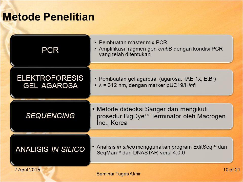 Metode Penelitian Pembuatan master mix PCR Amplifikasi fragmen gen embB dengan kondisi PCR yang telah ditentukan PCR Pembuatan gel agarosa (agarosa, TAE 1x, EtBr) λ = 312 nm, dengan marker pUC19/HinfI ELEKTROFORESIS GEL AGAROSA Metode dideoksi Sanger dan mengikuti prosedur BigDye  Terminator oleh Macrogen Inc., Korea SEQUENCING Analisis in silico menggunakan program EditSeq  dan SeqMan  dari DNASTAR versi 4.0.0 ANALISIS IN SILICO 7 April 2015of 2110 Seminar Tugas Akhir