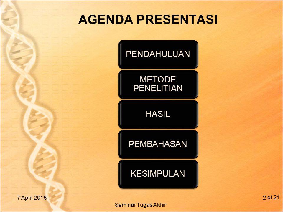 AGENDA PRESENTASI 7 April 2015 of 21 2 PENDAHULUAN METODE PENELITIAN HASILPEMBAHASANKESIMPULAN Seminar Tugas Akhir