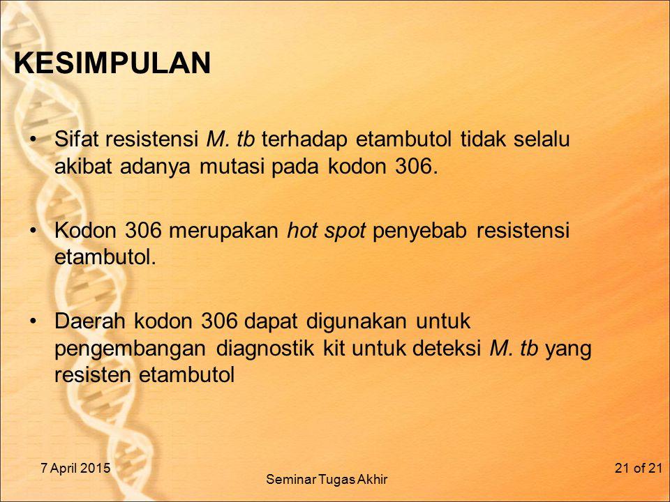 KESIMPULAN Sifat resistensi M.