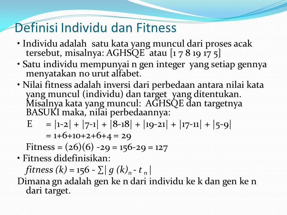 Definisi Individu dan Fitness Individu adalah satu kata yang muncul dari proses acak tersebut, misalnya: AGHSQE atau [1 7 8 19 17 5] Satu individu mempunyai n gen integer yang setiap gennya menyatakan no urut alfabet.