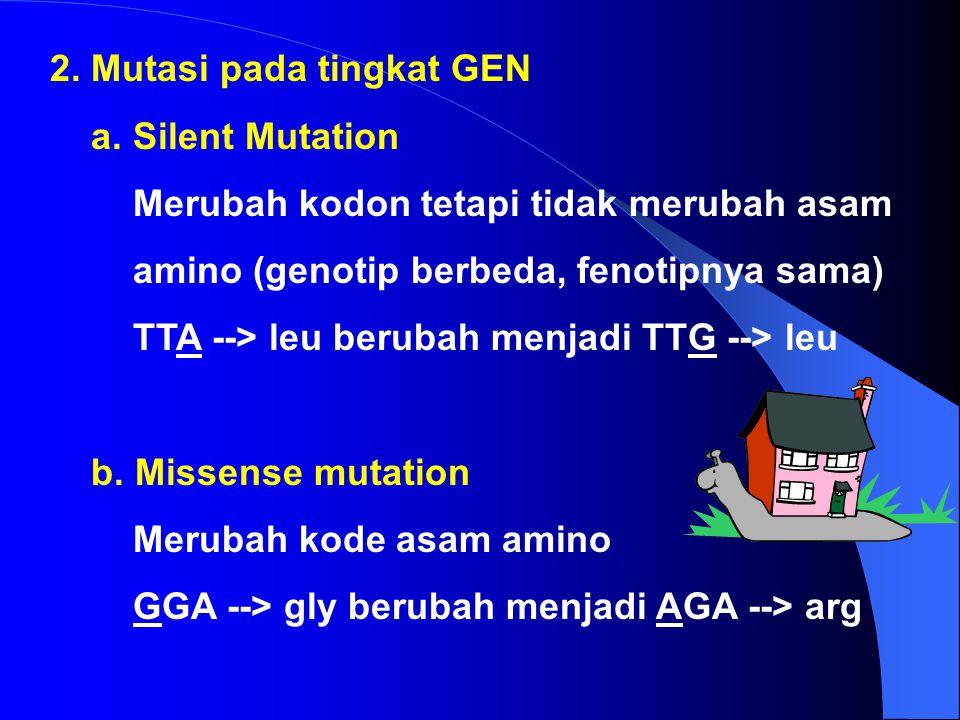 b. Insersi dan delesi Insersi : penambahan pasangan basa DNA Delesi : penghilangan pasangan basa DNA c. Inversi Penghilangan bagian dari heliks DNA di
