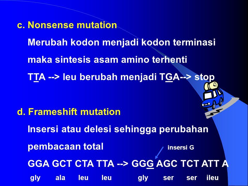 2. Mutasi pada tingkat GEN a. Silent Mutation Merubah kodon tetapi tidak merubah asam amino (genotip berbeda, fenotipnya sama) TTA --> leu berubah men