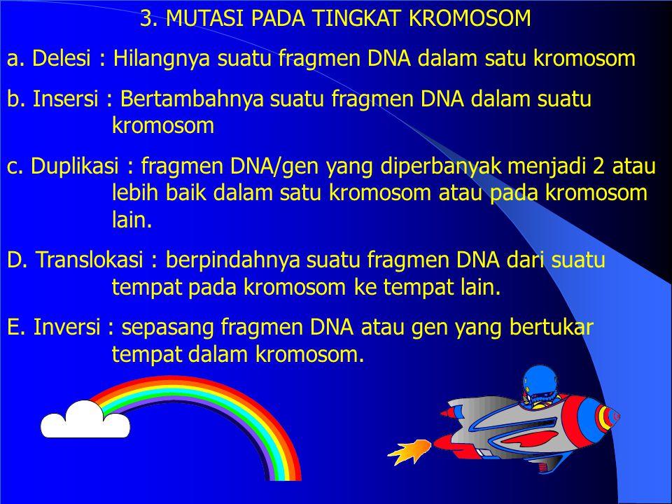 c. Nonsense mutation Merubah kodon menjadi kodon terminasi maka sintesis asam amino terhenti TTA --> leu berubah menjadi TGA--> stop d. Frameshift mut