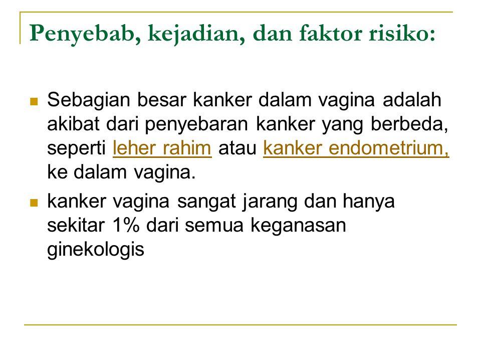 Penyebab, kejadian, dan faktor risiko: Sebagian besar kanker dalam vagina adalah akibat dari penyebaran kanker yang berbeda, seperti leher rahim atau