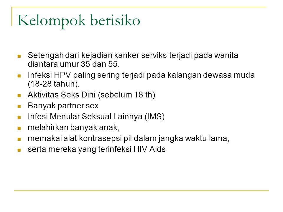 Kelompok berisiko Setengah dari kejadian kanker serviks terjadi pada wanita diantara umur 35 dan 55. Infeksi HPV paling sering terjadi pada kalangan d