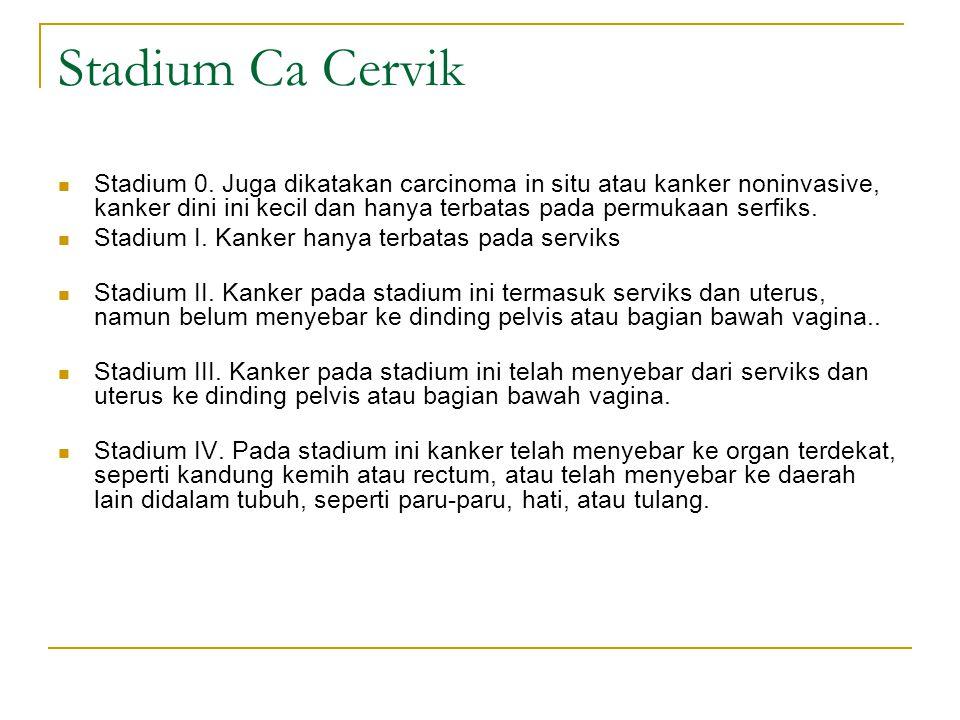 Stadium Ca Cervik Stadium 0. Juga dikatakan carcinoma in situ atau kanker noninvasive, kanker dini ini kecil dan hanya terbatas pada permukaan serfiks