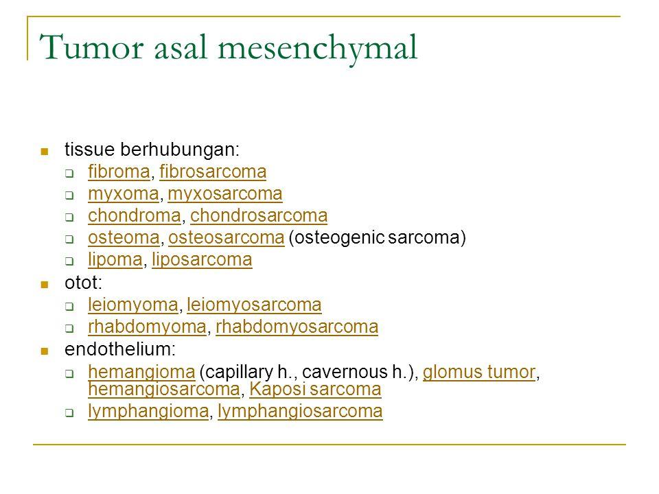 Tumor asal mesenchymal tissue berhubungan:  fibroma, fibrosarcoma fibromafibrosarcoma  myxoma, myxosarcoma myxomamyxosarcoma  chondroma, chondrosar