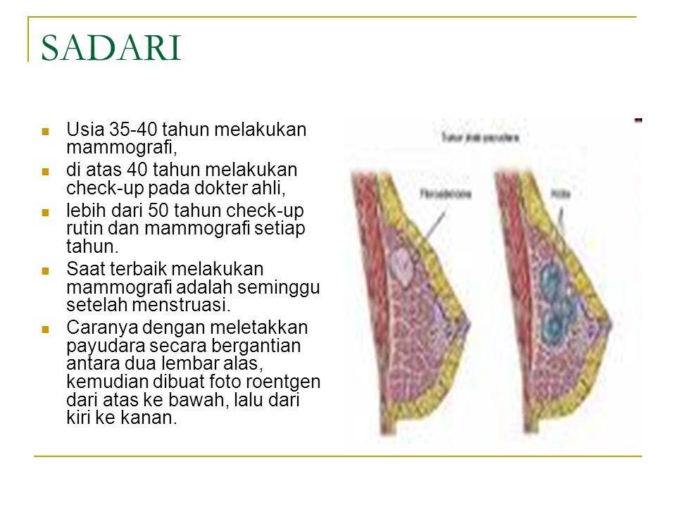SADARI Usia 35-40 tahun melakukan mammografi, di atas 40 tahun melakukan check-up pada dokter ahli, lebih dari 50 tahun check-up rutin dan mammografi