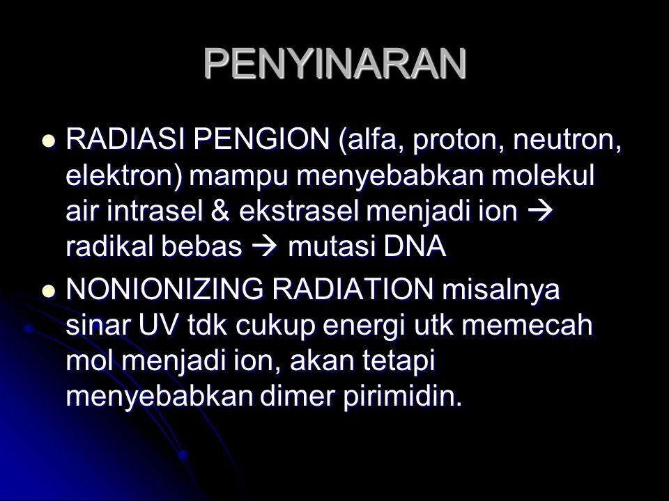 PENYINARAN RADIASI PENGION (alfa, proton, neutron, elektron) mampu menyebabkan molekul air intrasel & ekstrasel menjadi ion  radikal bebas  mutasi D