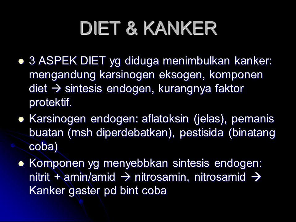 DIET & KANKER 3 ASPEK DIET yg diduga menimbulkan kanker: mengandung karsinogen eksogen, komponen diet  sintesis endogen, kurangnya faktor protektif.