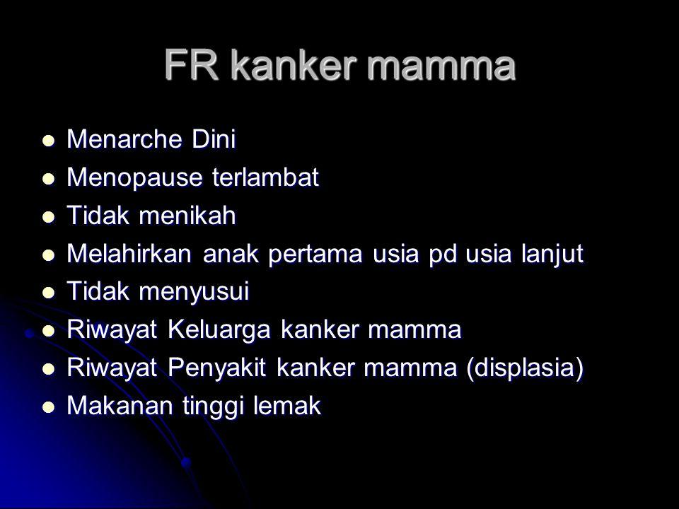 FR kanker mamma Menarche Dini Menarche Dini Menopause terlambat Menopause terlambat Tidak menikah Tidak menikah Melahirkan anak pertama usia pd usia l