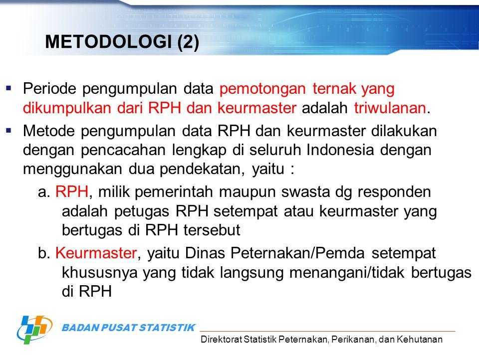 Direktorat Statistik Peternakan, Perikanan, dan Kehutanan BADAN PUSAT STATISTIK METODOLOGI (2)  Periode pengumpulan data pemotongan ternak yang dikum