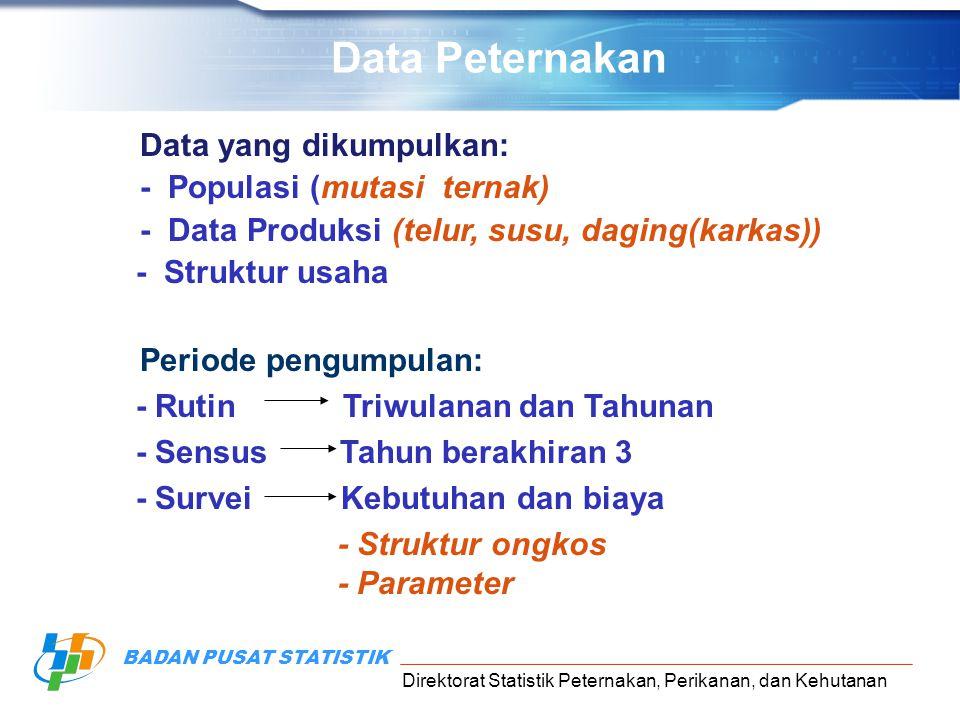Direktorat Statistik Peternakan, Perikanan, dan Kehutanan BADAN PUSAT STATISTIK Data yang dikumpulkan: - Populasi (mutasi ternak) - Data Produksi (tel
