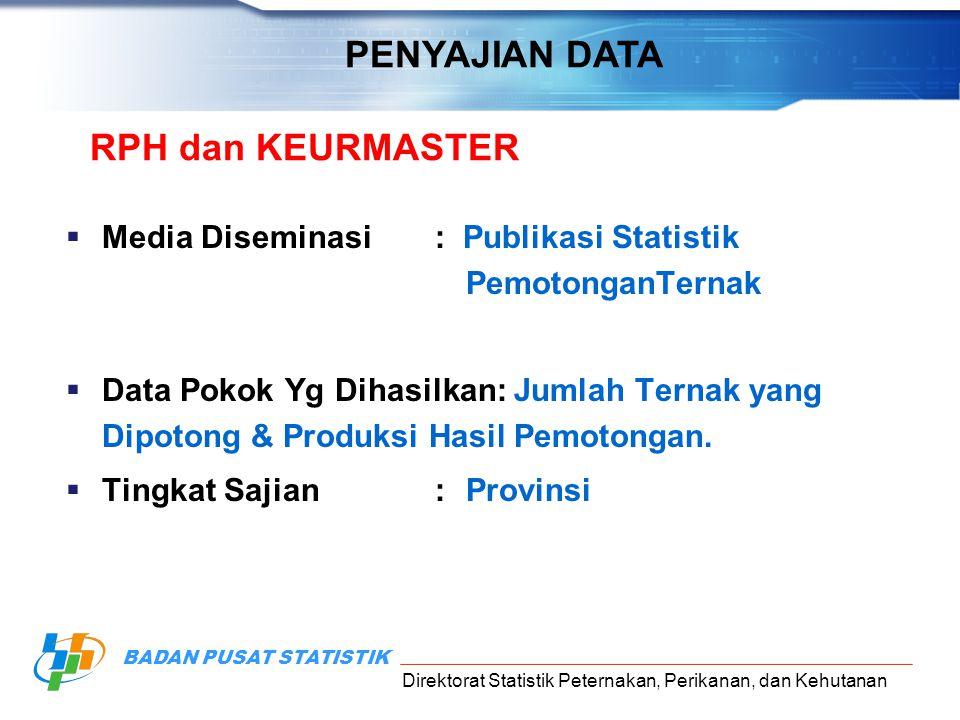 Direktorat Statistik Peternakan, Perikanan, dan Kehutanan BADAN PUSAT STATISTIK RPH dan KEURMASTER  Media Diseminasi: Publikasi Statistik PemotonganT