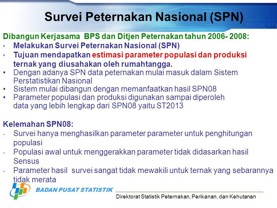 Direktorat Statistik Peternakan, Perikanan, dan Kehutanan BADAN PUSAT STATISTIK Dibangun Kerjasama BPS dan Ditjen Peternakan tahun 2006- 2008: Melakuk