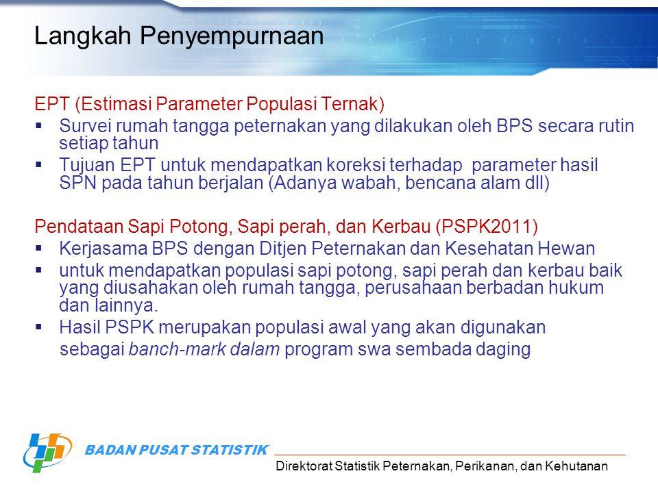 Direktorat Statistik Peternakan, Perikanan, dan Kehutanan BADAN PUSAT STATISTIK Langkah Penyempurnaan EPT (Estimasi Parameter Populasi Ternak)  Surve
