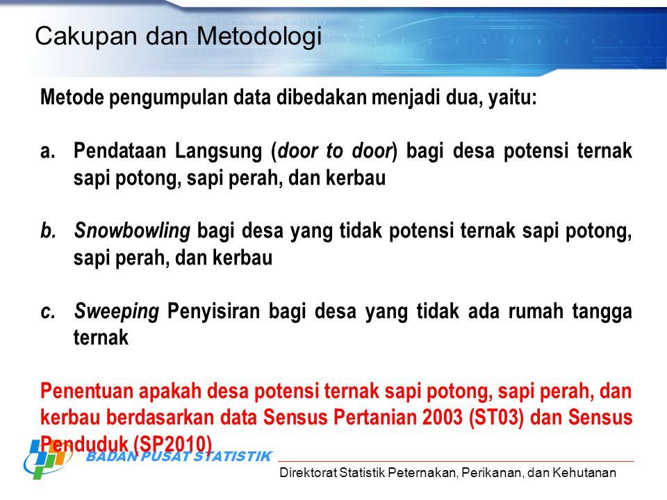Direktorat Statistik Peternakan, Perikanan, dan Kehutanan BADAN PUSAT STATISTIK Cakupan dan Metodologi Metode pengumpulan data dibedakan menjadi dua,