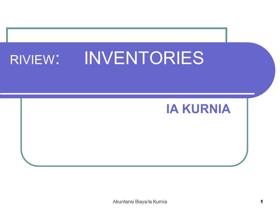 RIVIEW : INVENTORIES IA KURNIA Akuntansi Biaya/Ia Kurnia 1