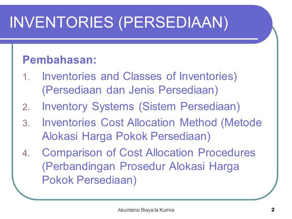 INVENTORIES (PERSEDIAAN) Pembahasan: 1. Inventories and Classes of Inventories) (Persediaan dan Jenis Persediaan) 2. Inventory Systems (Sistem Persedi