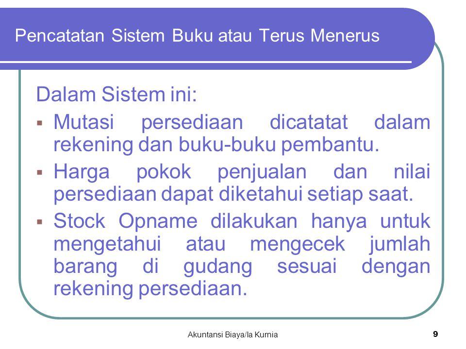 Features: Pencatatan Sistem Buku atau Terus Menerus (2) Perpetual System 1.
