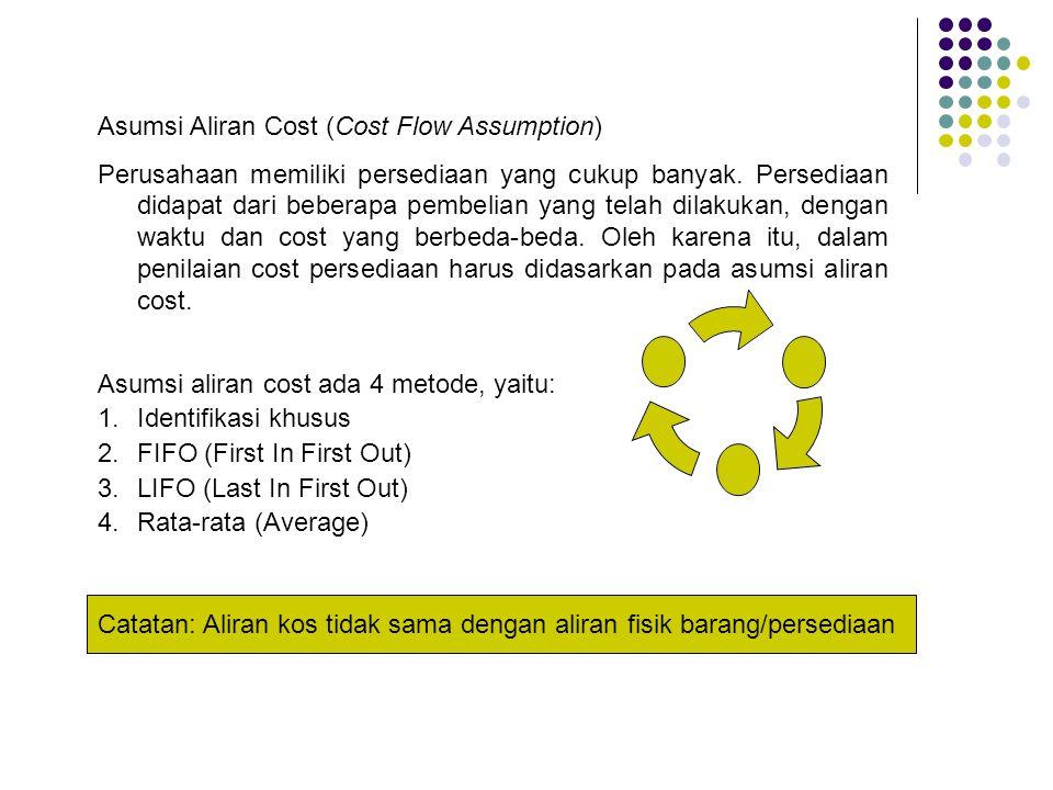 Pengaruh Ausumsi Aliran Kos terhadap Laporan Keuangan Cost FlowNeracaRugi/Laba FIFOMenggambarkan nilai yang mendekati harga pasar (harga yang bisa direalisir) Menggambarkan harga pokok penjualan yang tidak sebanding dengan harga pasar.