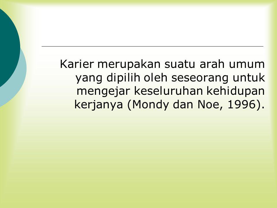 Karier merupakan suatu arah umum yang dipilih oleh seseorang untuk mengejar keseluruhan kehidupan kerjanya (Mondy dan Noe, 1996).