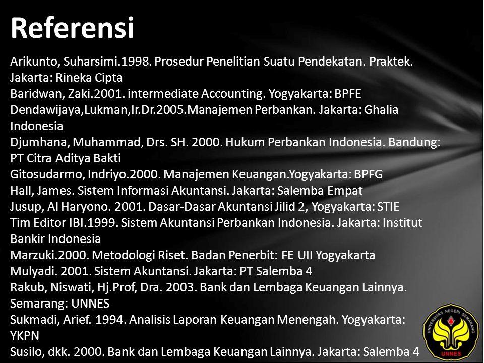 Referensi Arikunto, Suharsimi.1998. Prosedur Penelitian Suatu Pendekatan.
