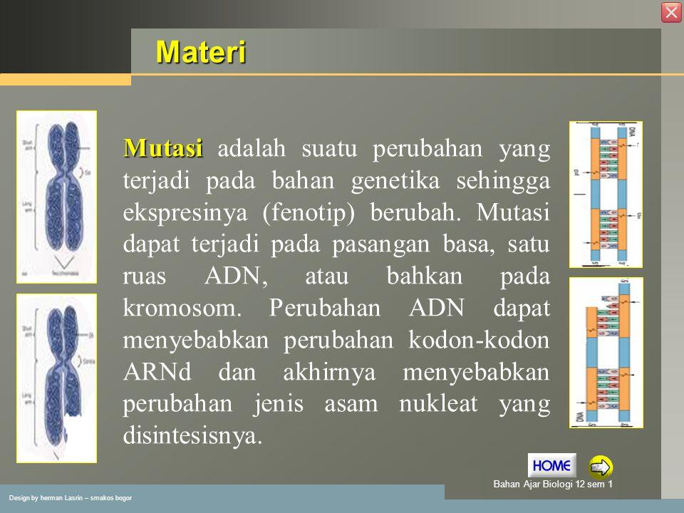 Design by herman Lasrin – smakos bogor Bahan Ajar Biologi 12 sem 1 Indikator Membedakan mutasi somatis dengan mutasi gamet Membedakan mutasi kromosom dengan mutasi gen Menentukan contoh mutasi kromosom dan mutasi gen Menentukan faktor yang menyebabkan mutasi