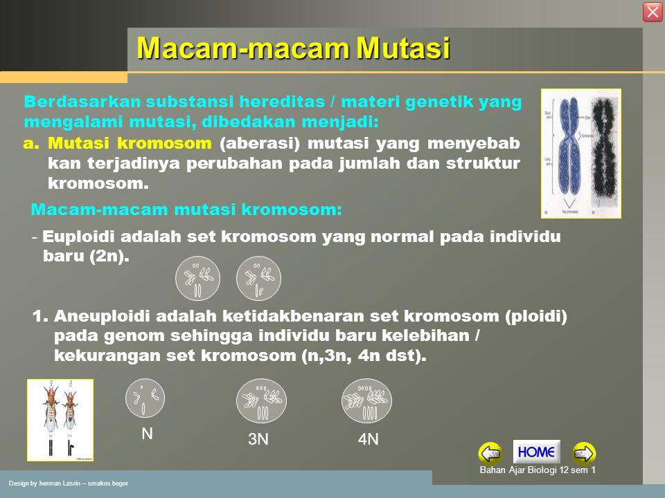 Design by herman Lasrin – smakos bogor Bahan Ajar Biologi 12 sem 1 Macam-macam Mutasi Berdasarkan substansi hereditas / materi genetik yang mengalami mutasi, dibedakan menjadi: a.
