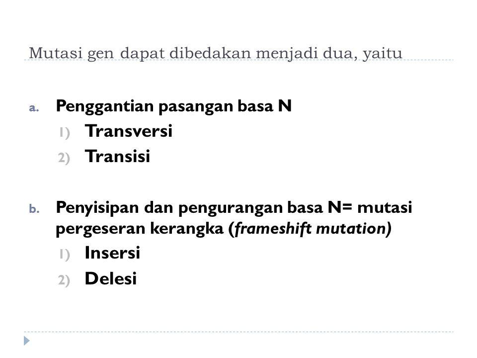 Mutasi gen dapat dibedakan menjadi dua, yaitu a. Penggantian pasangan basa N 1) Transversi 2) Transisi b. Penyisipan dan pengurangan basa N= mutasi pe