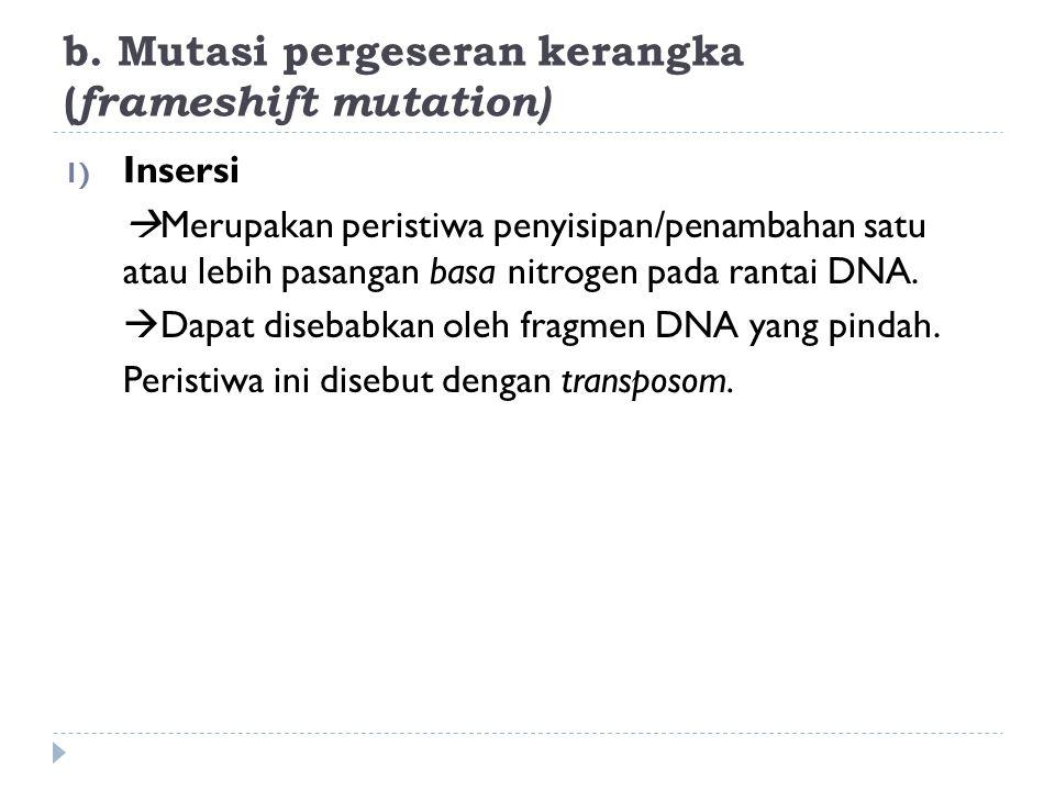b. Mutasi pergeseran kerangka ( frameshift mutation) 1) Insersi  Merupakan peristiwa penyisipan/penambahan satu atau lebih pasangan basa nitrogen pad