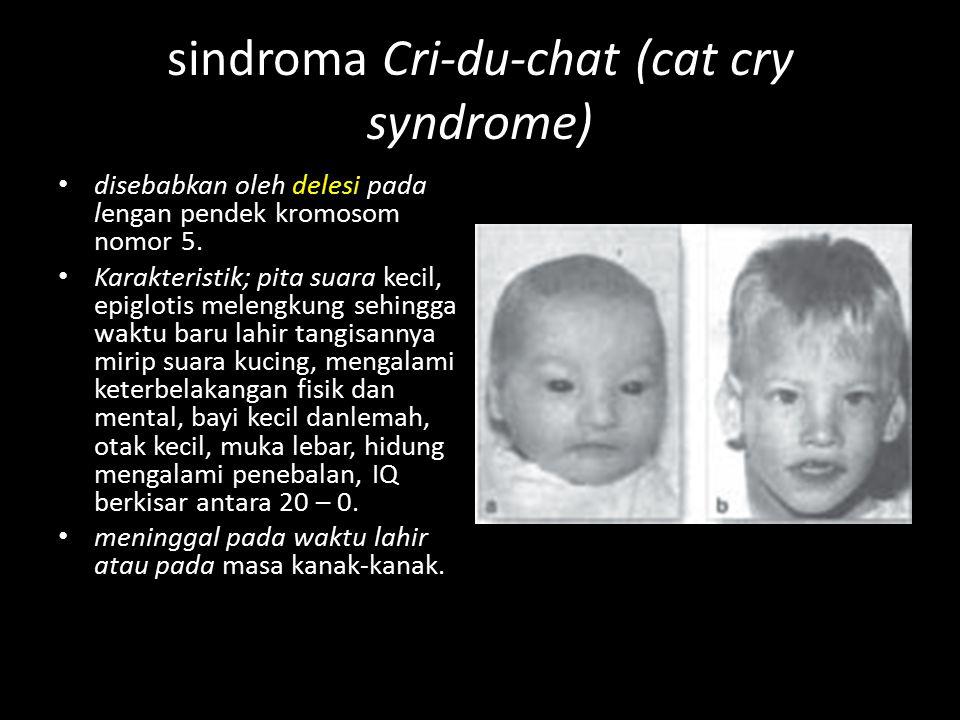 sindroma Cri-du-chat (cat cry syndrome) disebabkan oleh delesi pada lengan pendek kromosom nomor 5. Karakteristik; pita suara kecil, epiglotis melengk