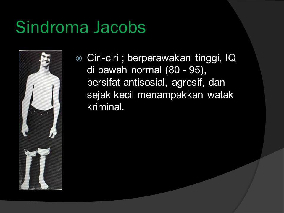 Sindroma Jacobs  Ciri-ciri ; berperawakan tinggi, IQ di bawah normal (80 - 95), bersifat antisosial, agresif, dan sejak kecil menampakkan watak kriminal.