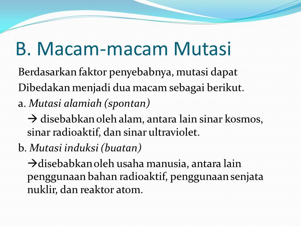 B. Macam-macam Mutasi Berdasarkan faktor penyebabnya, mutasi dapat Dibedakan menjadi dua macam sebagai berikut. a. Mutasi alamiah (spontan)  disebabk