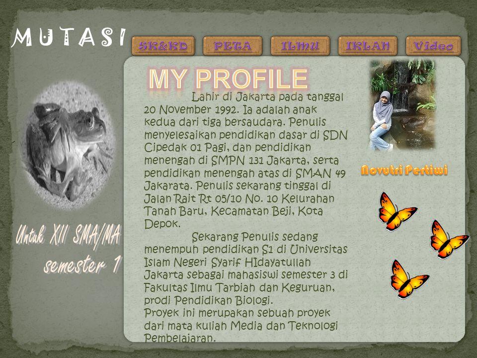 M U T A S I Lahir di Jakarta pada tanggal 20 November 1992. Ia adalah anak kedua dari tiga bersaudara. Penulis menyelesaikan pendidikan dasar di SDN C
